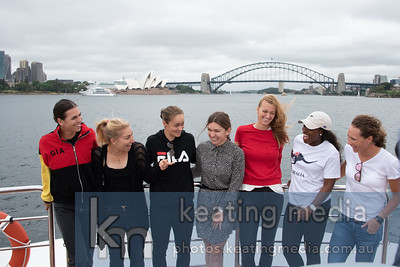 Sydney, Australia - 6 January 2018:  (L-R) Ajla Tomljanovic, Daria Gavrilova, Ashleigh Barty, Simona Halep, Petra Kvitova, Sloane Stephens, Samantha Stosur on-board the super yacht 'Cooroboree' during a media opportunity for the Sydney International tennis. (Photo by Rob Keating/robiciatennis.com)