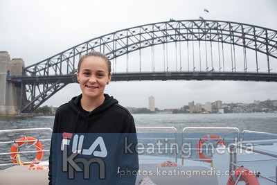 AUSTRALIA - JANUARY 06: Ashleigh Barty during a media opportunity for the 2019 Sydney International on the super yacht 'Corroboree' out on Sydney Harbour . (Photo by Rob Keating/Robicia Tennis)