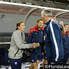 Jill Ellis - Head Coach of U.S. Women's Soccer Team greets Philippe Bergeroo of France, Raymond James Stadium, Tampa - 14 June 2014 (Photographer: Nigel Worrall)