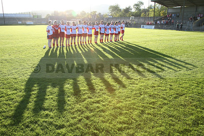 The Tinahely Ladies Football Team stand for the National Anthem (September 2009)