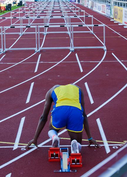 Start of 110 m hurdles in Stockholm stadion