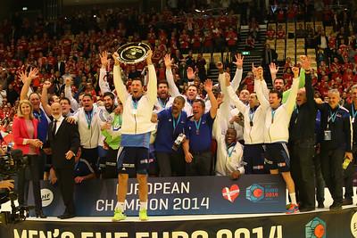 France winner of Men's EHF EURO 2014, Århus, Denmark. Host Helle Thorning-Schmidt.