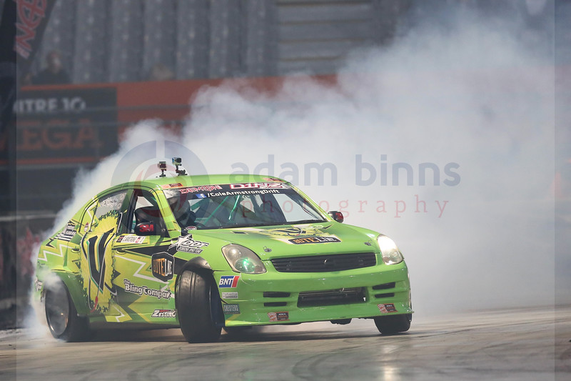 "Cole Armstrong on his way to winning the semi final of Round 1 of the Demon Energy D1NZ National Drifting Championship, Forsyth Barr Stadium, Dunedin, New Zealand, Saturday, December 3, 2016. © Copyright photo: Adam Binns /  <a href=""http://www.photosport.nz"">http://www.photosport.nz</a>"