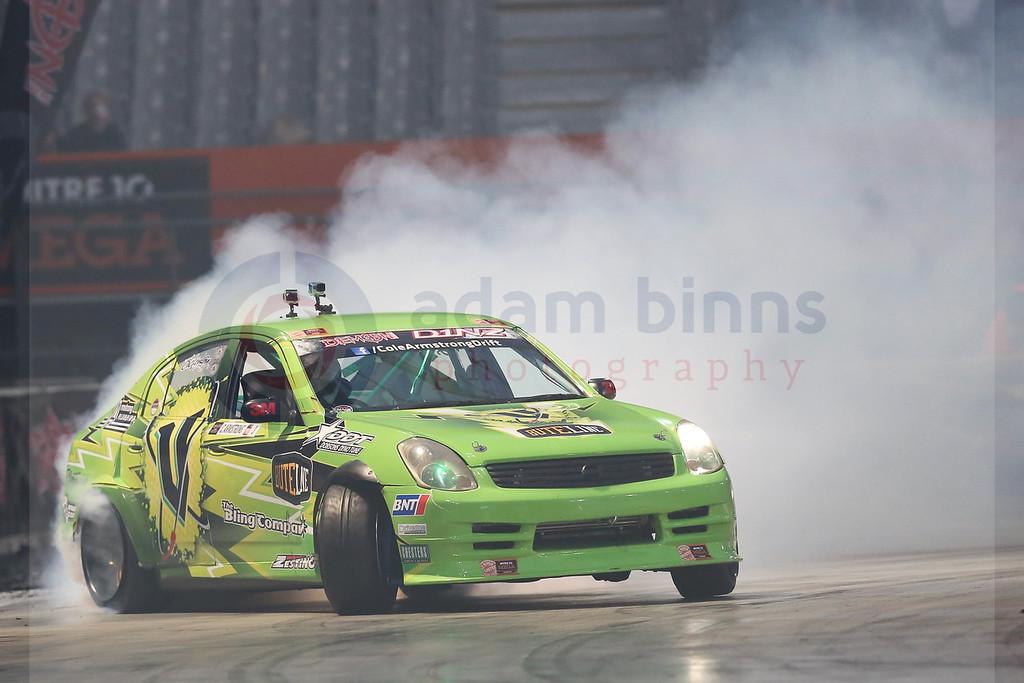 "Cole Armstrong on his way to winning the semi final of Round 1 of the Demon Energy D1NZ National Drifting Championship, Forsyth Barr Stadium, Dunedin, New Zealand, Saturday, December 3, 2016. © Copyright photo: Adam Binns /  <a href=""http://www.photosport.nz"">http://www.photosport.nz</a>"