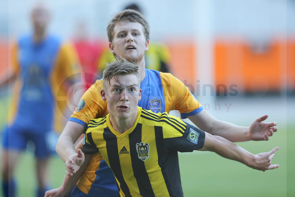 "Wellington Phoenix Under 20s' James McGarry, front, and Southern United's Michael Hogan, rear, contest for the ball in the Stirling Sports Premiership football match, Forsyth Barr Stadium, Dunedin, New Zealand, Friday, November 25, 2016. © Copyright photo: Adam Binns /  <a href=""http://www.photosport.nz"">http://www.photosport.nz</a>"