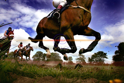 Low Down mid air action from the  Open Maiden Horse Race at the annual Athea Races on Sunday. Pic Brendan Landy