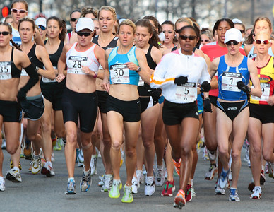 2008 US Women's Olympic Marathon Trial.  Boston/Cambridge, MA. Deena Kastor (Bib #1) was the winner.