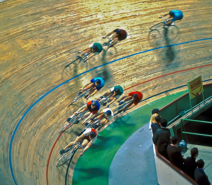 Velodrome cycling competition in East Berlin DDR 1972