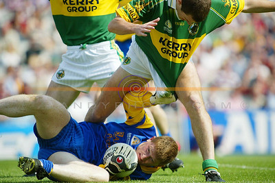 Shane Curran the roscommon keeper and captain stretches his luck a little with the kerry boys. pic Brendan Landy