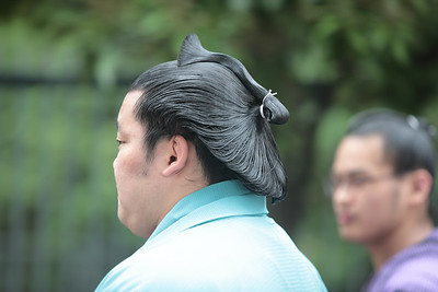 Chonmage (traditional hair style for sumo wrestlers). May 2016 Basho.