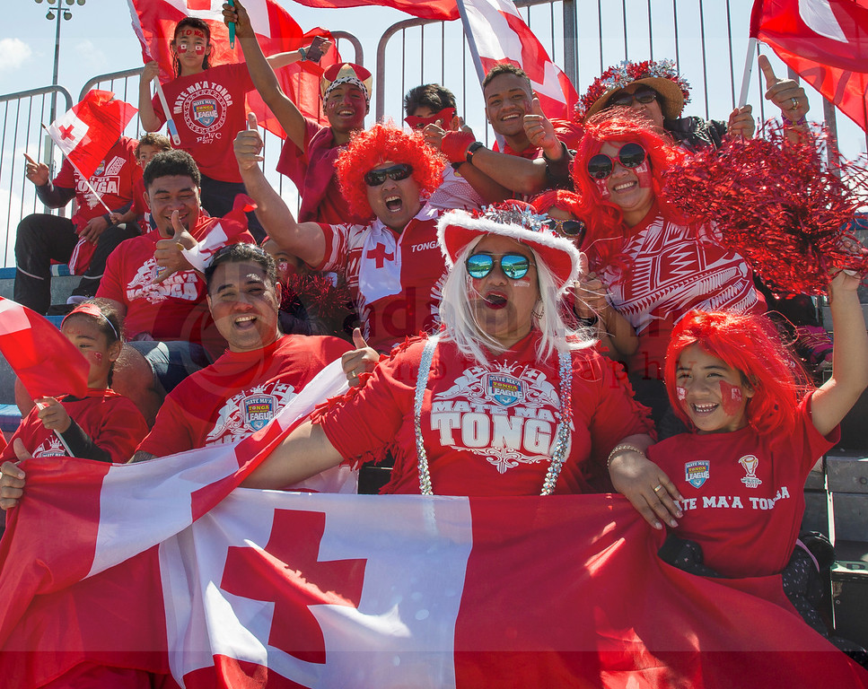 Tongan fans showing their support ahead of the Rugby League World Cup Quarter Final match between Lebanon and Tonga at AMI Stadium in Christchurch, New Zealand, Saturday 18 November 2017.  (AAP Image/SNPA, Adam Binns) NO ARCHIVING, EDITORIAL USE ONLY