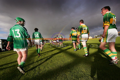 At the end of the rainbow there a crock of gold... Limericks Gearoid McGrath and Kerrys 18 ?  having a chat during the parade before the game. Pic Brendan Landy