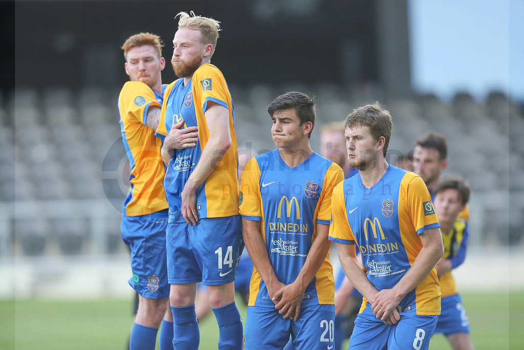 "Southern United players Danny Ledwith, left, Ross Howard, second left, Tennessee Kinghorn, second right, and Michael Hogan, right, form the wall against a Wellington Phoenix Under 20s free kick in the Stirling Sports Premiership football match, Forsyth Barr Stadium, Dunedin, New Zealand, Friday, November 25, 2016. © Copyright photo: Adam Binns /  <a href=""http://www.photosport.nz"">http://www.photosport.nz</a>"