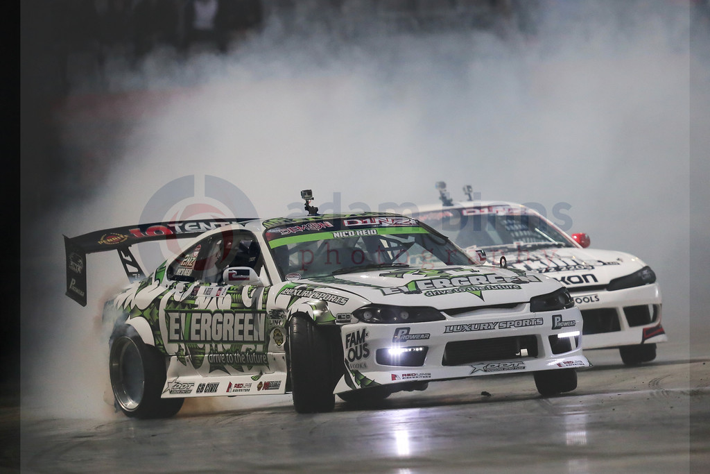 "Nico Reid, left, leads Drew Donovan, right, in the semi final of Round 1 of the Demon Energy D1NZ National Drifting Championship, Forsyth Barr Stadium, Dunedin, New Zealand, Saturday, December 3, 2016. © Copyright photo: Adam Binns /  <a href=""http://www.photosport.nz"">http://www.photosport.nz</a>"