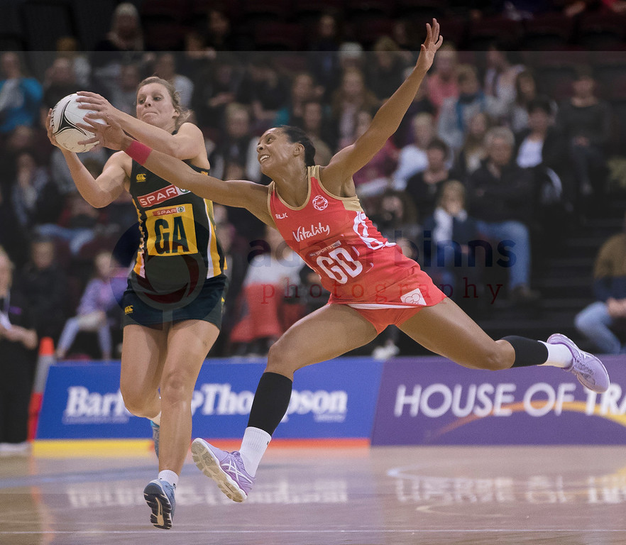 South Africa's Maryka Holtzhausen, left, beats England's Stacey Francis to the ball in the Netball Quad Series netball match, ILT Stadium Southland, Invercargill, New Zealand, Sept. 3 2017.  Credit:SNPA / Adam Binns ** NO ARCHIVING**