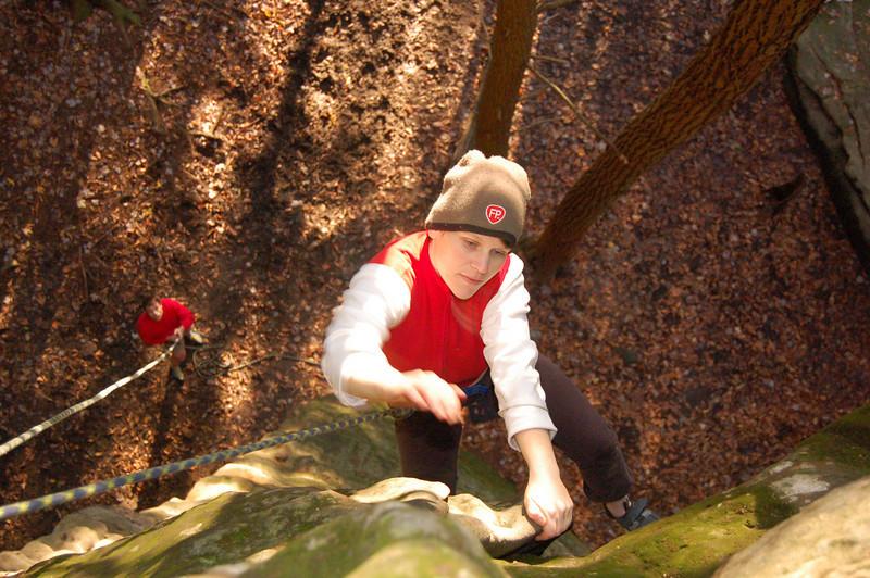 Climbing at Rectagle Rock.