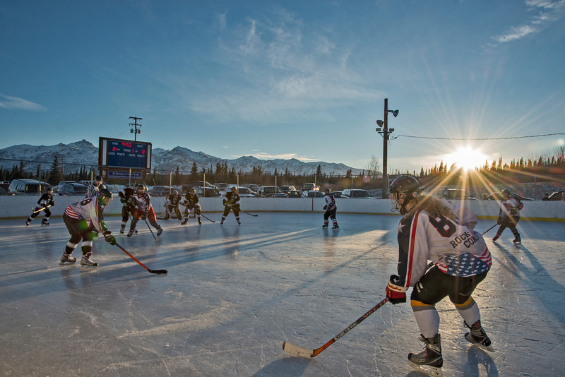 Youth hockey in Healy, Alaska, during the 2014 Denali Winterfest.