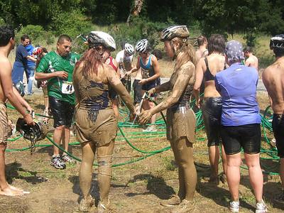 Washing off the mud.
