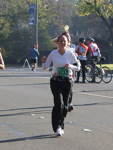 Erica's smiling at mile 20! Good sign!