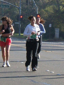 Corner or Morse and Fair Oaks. That's mile 20! Lookin' good, Erica! (And is that lady in the red shorts from the 80's?)