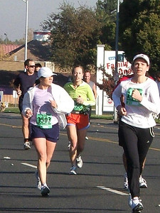 It may look like I'm about to pass these ladies, but I'm pretty sure everyone was passing me. Is this mile 10? Not quite sure.