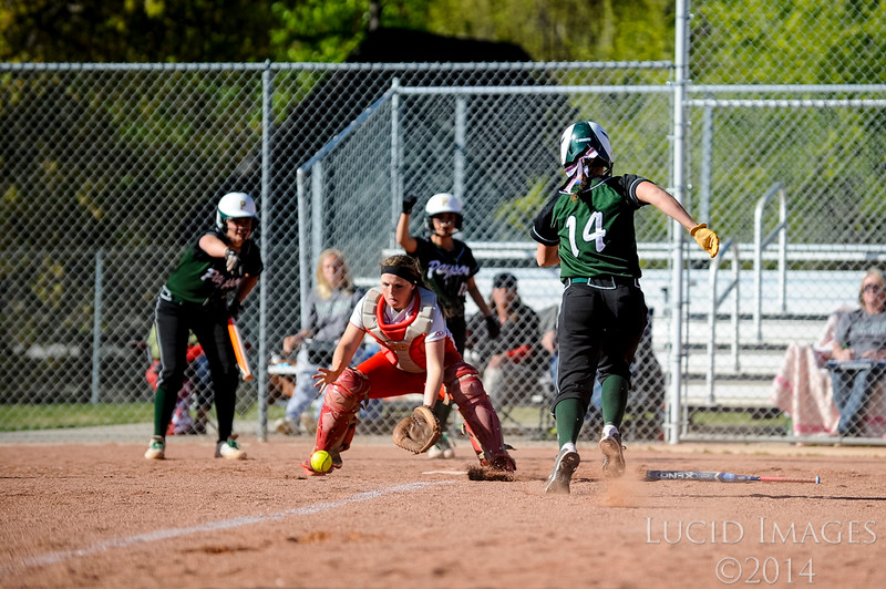 Payson High's Shaylee Larsen attempts to score a run against Bountiful High School in Payson's victory at Millcreek Junior High School in Bountiful on April 17, 2014. (ROBBY LLOYD/ Special to the Standard-Examiner)