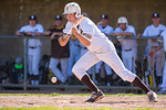 Ben Rigby (13), of Davis High, hits a sacrifice bundt to advance his teammate, Hayden Rodda (6), to second base, at Davis High School, in Kaysville, on May 5, 2017.