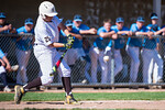 Stockton Hall (25), of Davis High, hits a base hit, allowing two RBIs and then a throwing error allowed him to make it safely to second base, at Davis High School, in Kaysville, on May 5, 20 ...