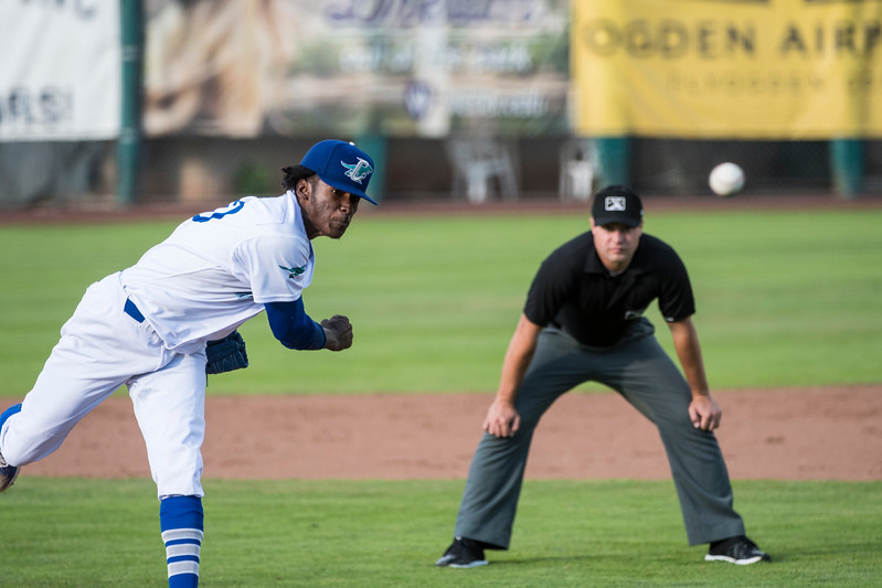 Ogden pitcher, Nelson Hernandez (34), strikes out Franly Manly (17), on a foul tip to end the top of the second inning at Lindquist Field, in Ogden, on Monday July 17, 2017.
