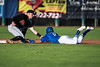 Brayan Morales (8), of the Ogden Raptors, fails to steal second base and is tagged out by Voyagers second baseman Tate Blackman (4), at Lindquist Field, in Ogden, on Tuesday, August 15, 2017.