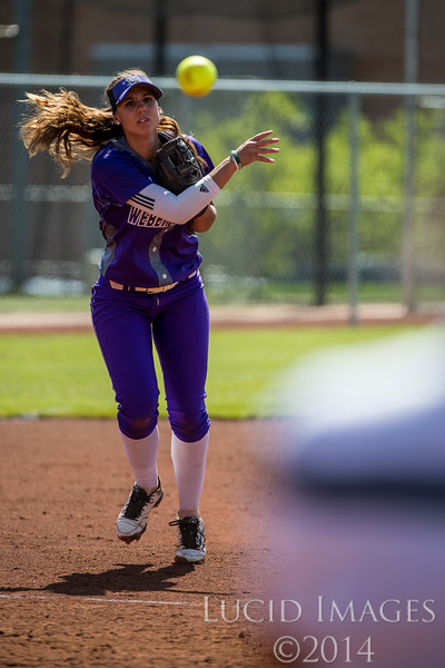 Alyson Kulp (8), of Weber State, throws the ball to first base for an easy out against Idaho State at the Big Sky Softball Championship playoffs at Weber State University on May 13, 2016. Weber would go on to win 6-0.