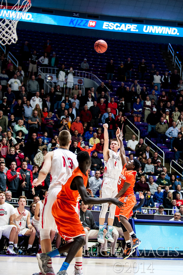 Zac Seljaas (1), of Bountiful hits a last second three pointer to put Bountiful up 58-56 and win the game against Murray High in the first round of the 4A Boys State Championships at the Dee Events Center in Ogden on February 24, 2015.