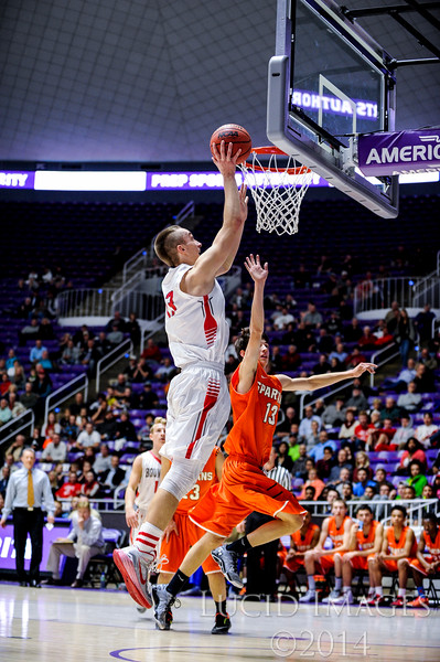 The Bountiful Braves win with a three point buzzer beater to put them up 58-56 against the Murray Spartans in the first round of the 4A Boys State Championships at the Dee Events Center in Ogden on February 24, 2015.