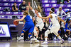 The defense of Weber players Emily Drake (20) and Briana Gray (5), force Air Force player Cortney Porter (11), out of bounds and causing a crucial turnover that helped to seal Weber State's victory, at the Dee Events Center, in Ogden, on Saturday, December 9, 2017.