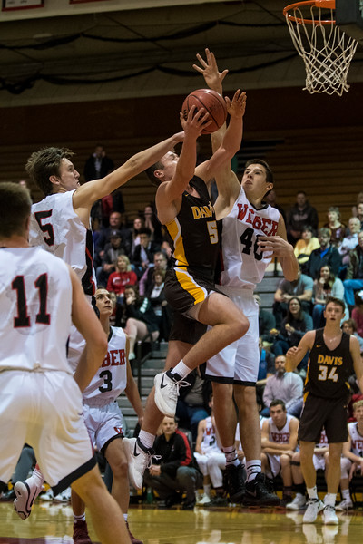 Weber got off to a slow start, taking more than 6 minutes to get on the board, while Davis got off to a quick start. Weber came alive in the second half, but ultimately fell to Davis, 61-53 at Weber High School, in Pleasant View, on Tuesday, January 23, 2018.