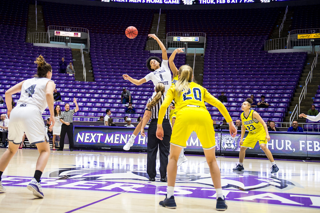 The Weber women's basketball team had a dominating performance against Northern Arizona leading the majority of the game and winning with a score of 77-65, at the Dee Events Center, in Ogden, on Saturday, February 3, 2018.