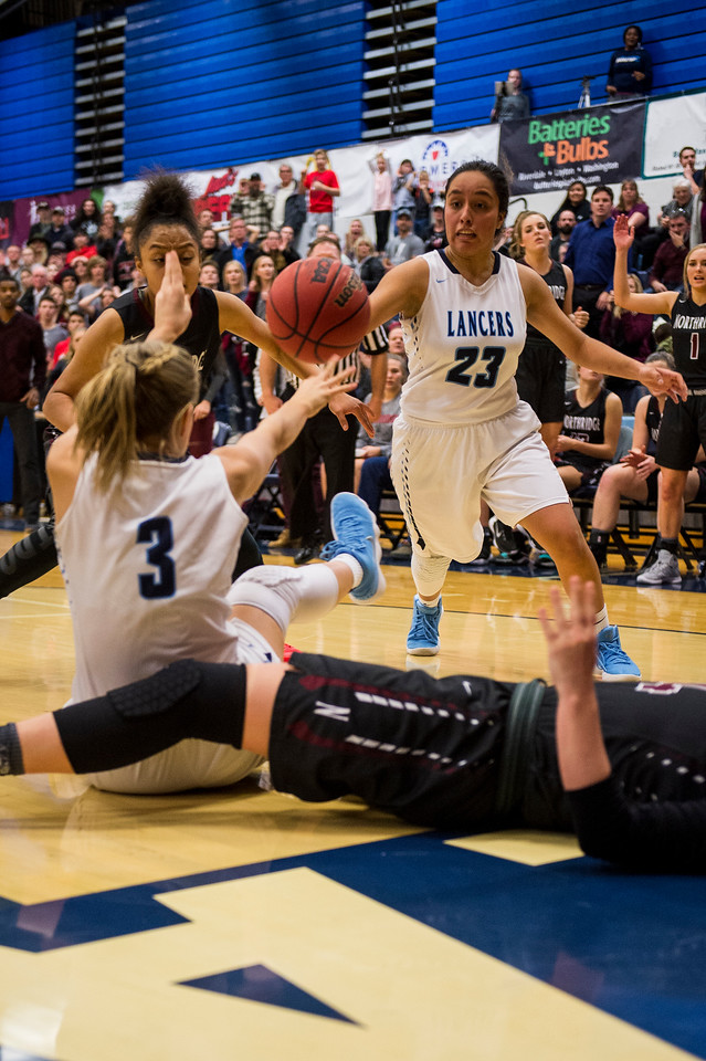 The Layton Lancers held out against the Northridge Knights in a game full of lead changes to win 47-46, with the game coming down to the final seconds, at Layton High School in Layton, on Wednesday, January 3, 2018.