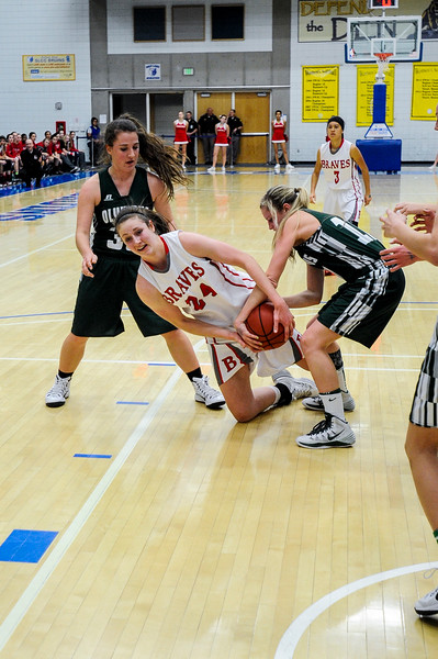 Bountiful center Kennedy Redding (24), fights for an offensive rebound with Olympus player Katie Warren (10) at the 4A Girls Prep Basketball Tournament at Salt Lake Community College in Salt Lake City on February 17, 2015.