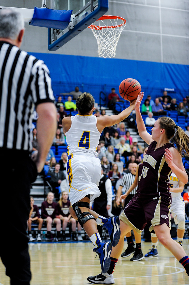 Three pointers kept the Bonneville Lakers in the game, but it wasn't enough for them to pull ahead past the Maple Mountain Golden Eagles, losing the game 55-44 at the 4A Girls Prep Basketball Tournament at Salt Lake Community College in Salt Lake City on February 17, 2015.