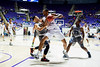 Shane Shelton (2), of Antelope Valley, works to stop Joel Bolomboy (21), of Weber State, from going to the hoop in the first half of the game at the Dee Events Center in Ogden on November 19, 2015.