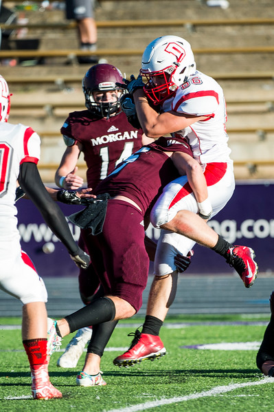 The Delta Rabbits defeated the Morgan Trojans 21-14 in the 3A semifinal round of playoffs at Stewart Stadium, in Ogden, on November 3, 2016.