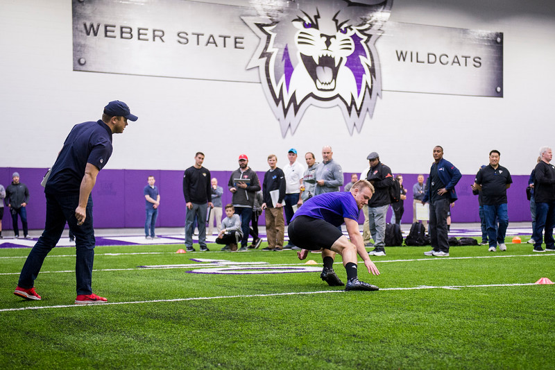 Andrew Vollert, of Weber State, runs through scuttle drills for NFL scouts during Pro Day at the Weber State Field House, in Ogden, on Wednesday, March 28, 2018.