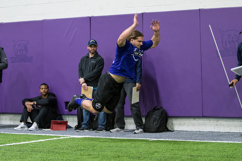 Select players from the Weber State football team went through drills and physical tests as part of Pro Day for NFL scouts at the Weber State Field House, in Ogden, on Wednesday, March 28, 2018.