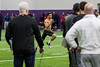 Weber State football player, Xequille Harry, runs the 40-yard dash for NFL scouts during Pro Day at the Weber State Field House, in Ogden, on Wednesday, March 28, 2018.