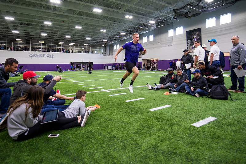 Andrew Vollert, of Weber State, runs a 40-yard dash for NFL scouts during Pro Day at the Weber State Field House, in Ogden, on Wednesday, March 28, 2018.