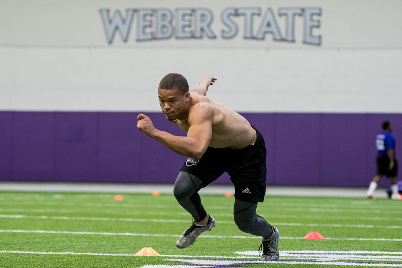 Taron Johnson, of Weber State, runs through scuttle drills for NFL scouts during Pro Day at the Weber State Field House, in Ogden, on Wednesday, March 28, 2018.
