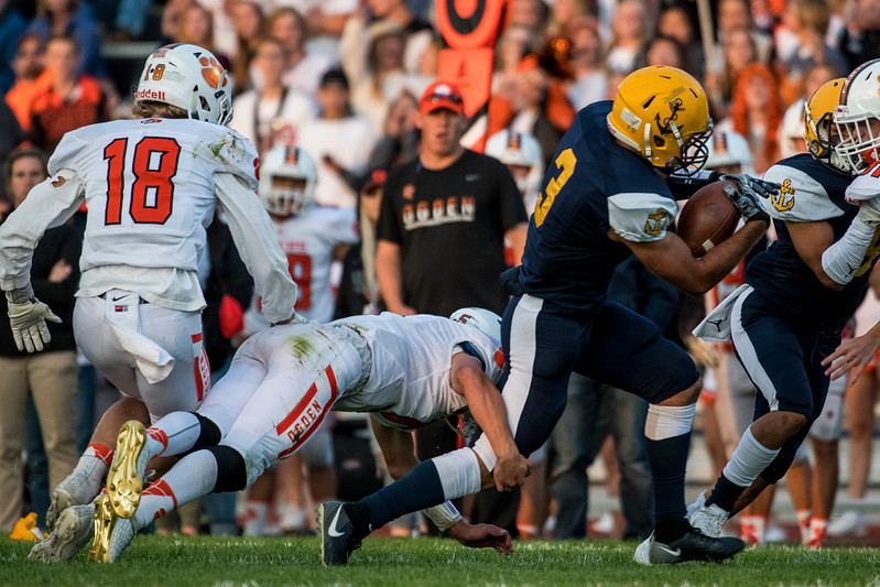 Ogden High scored 35 points in the fourth quarter to pull from behind and beat Bonneville 42-35 at Bonneville High School, in Washington Terrace, on Friday, September 15, 2017.