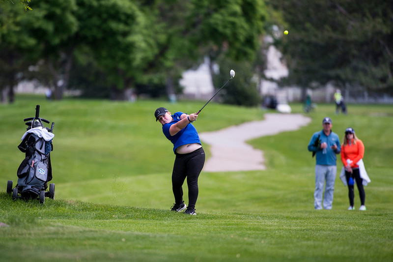 BreAnn Neil, of Fremont High, hits from just off the fairway on hole number 12, that she would end up bogeying, during the 5A girls golf state championships at Davis Park Golf Course, in Kaysville, on Tuesday, May 16, 2017.