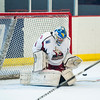 Casper goalie Toms Tomovics (1) loses his stick, but manages to fend off a few Mustangs goal attempts before they finally got the puck by him in Ogden's 5-3 victory over the Coyotes at the Ogden Ice Sheet in Ogden on November 1, 2015.