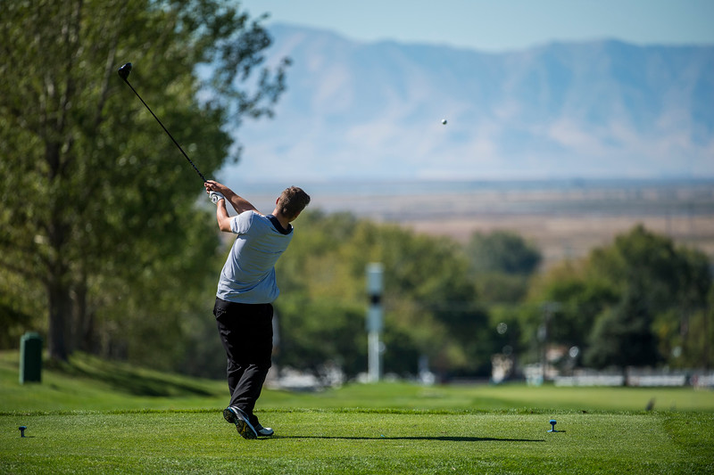 Zach Hood, of Bonneville High, tees off on hole number 13 at Eagle Mountain Golf Course, in Brigham City, on September 26, 2016. Hood would go on to par the hole during the region 5 tournament.